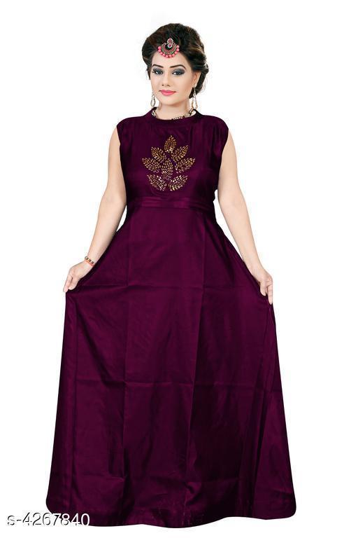 Women's Embroidered Purple Silk Dress