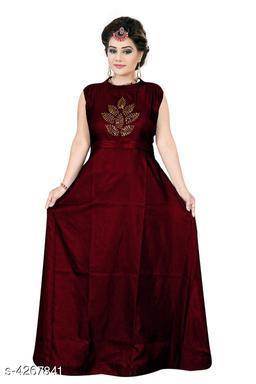 Women's Embroidered Maroon Silk Dress