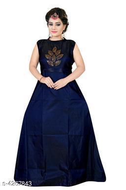Women's Embroidered Navy Blue Silk Dress