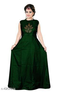Women's Embroidered Green Silk Dress