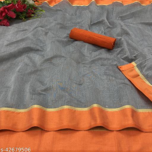 Kapil Fashion Grey And Orange Chanderi Cotton Saree With Blouse