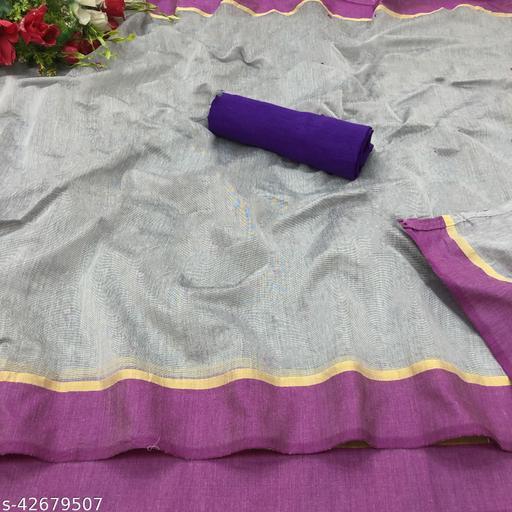 Kapil Fashion Grey And Purple Chanderi Cotton Saree With Blouse