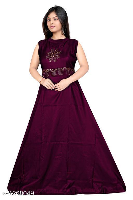Women's Embroidered Purple Taffeta Silk Dress