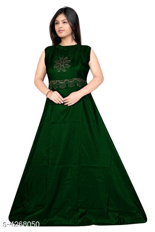 Women's Embroidered Green Taffeta Silk Dress
