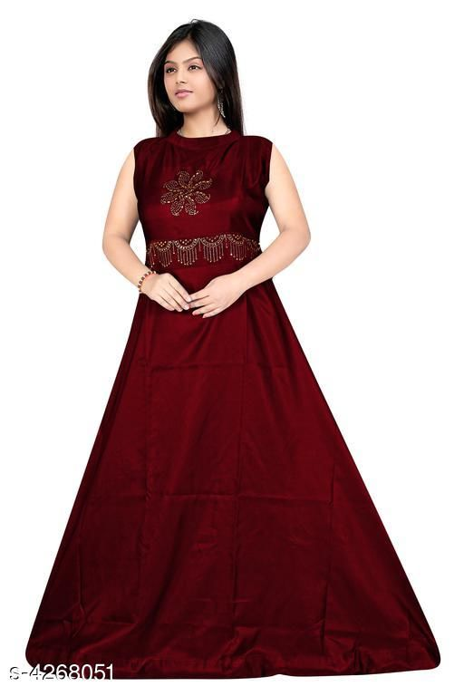 Women's Embroidered Maroon Taffeta Silk Dress