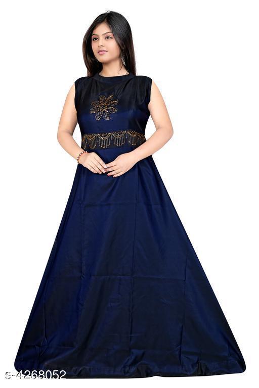 Women's Embroidered Navy Blue Taffeta Silk Dress