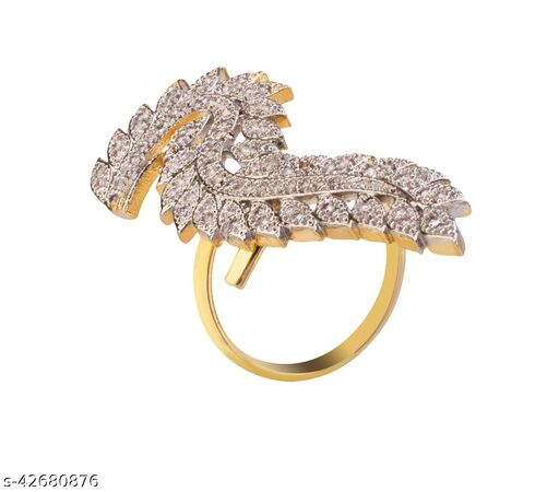 American Diamond Gold Plated Ring for Women and Girls_Adjustable