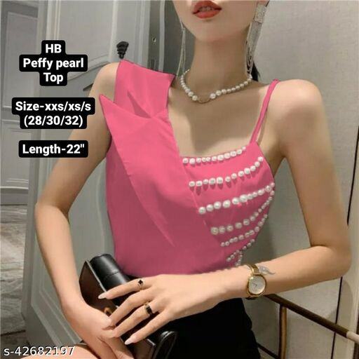 Peffy pearl collar top by High-Buy- Free size (xxs/xs/s)-pink