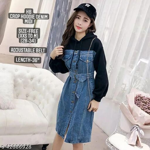 Crop hoodie denim midi by High-Buy- Free Size (xxs to m)(Bust 28 to 34) with adjustable belt-black