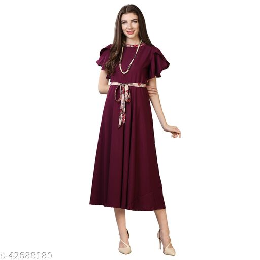Oomph! Women'S Crepe A-Line Maxi Dress - Eggplant Purple md69
