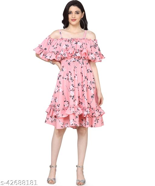 Oomph! Women'S Crepe Pleated Knee-Long Dress - Blush Pink md137