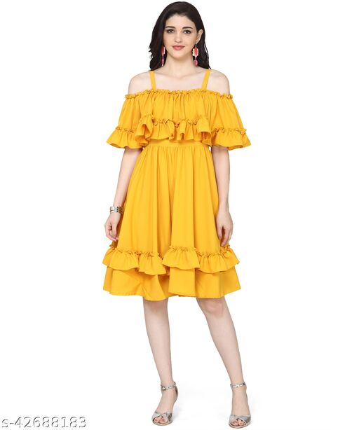 Oomph! Women'S Crepe Pleated Knee-Long Dress - Sunflower Yellow md136