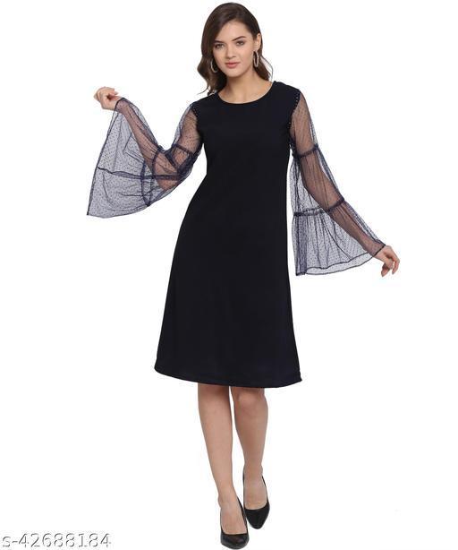 Oomph! Women'S Net A-Line Knee-Long Dress - Navy Blue md154