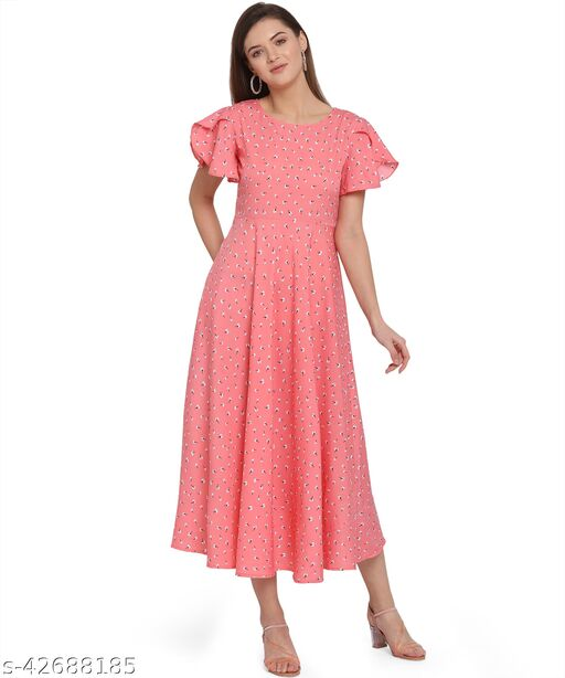Oomph! Women'S Crepe A-Line Maxi Dress - Blush Pink md134