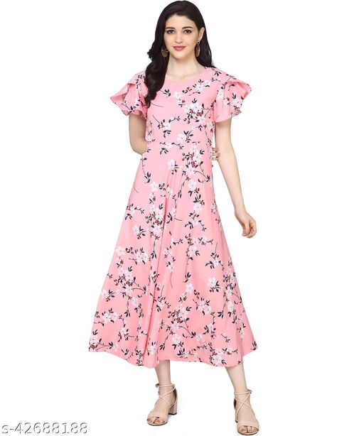 Oomph! Women'S Crepe A-Line Maxi Dress - Rose Pink md129