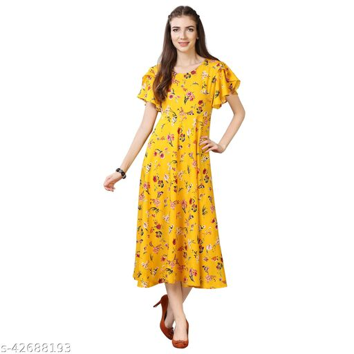 Oomph! Women'S Crepe A-Line Maxi Dress - Bumblebee Yellow md53