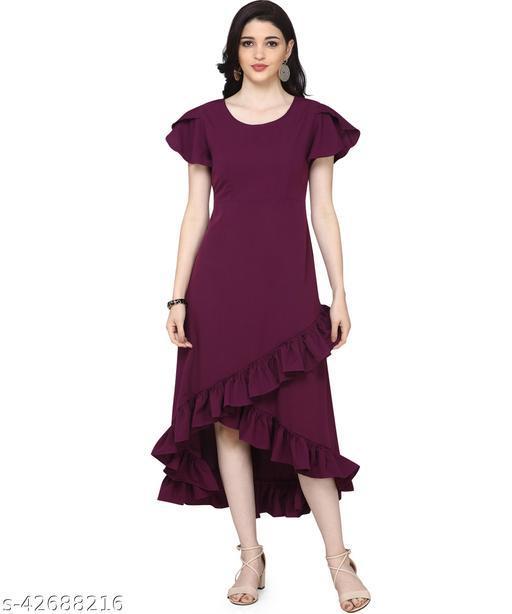 Oomph! Women'S Crepe Wrap Maxi Dress - Aubergine Purple md145