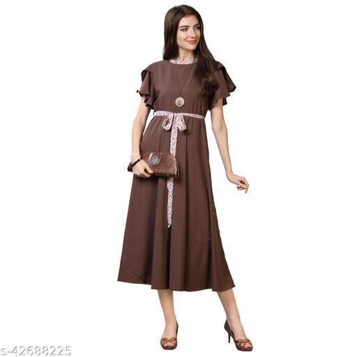 Oomph! Women'S Crepe A-Line Maxi Dress - Slate Grey md68