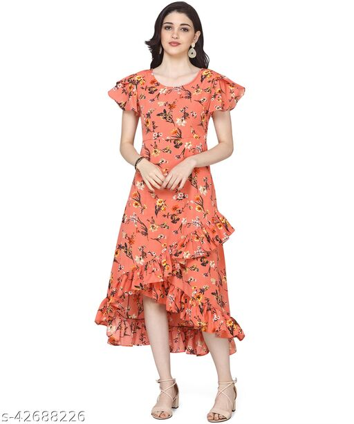 Oomph! Women'S Crepe Wrap Maxi Dress - Marmalade Orange md144