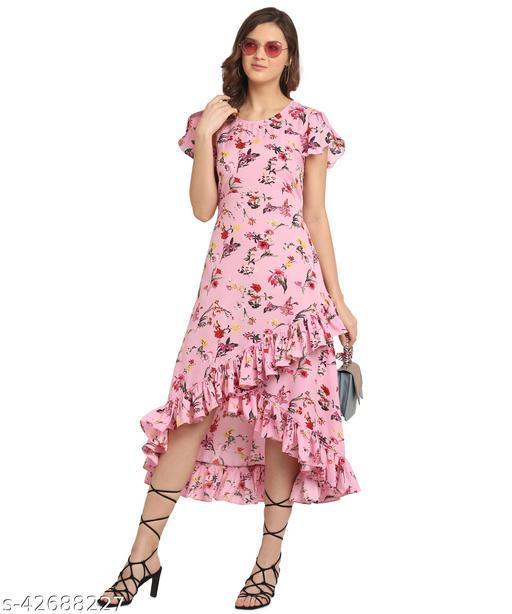 Oomph! Women'S Crepe Wrap Maxi Dress - Blush Pink md165