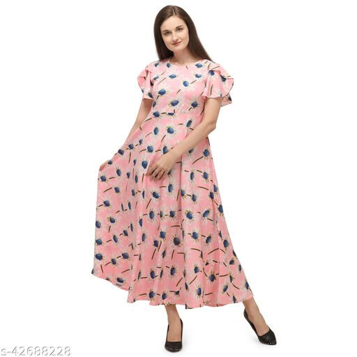 Oomph! Women'S Crepe A-Line Maxi Dress - Baby Pink md119