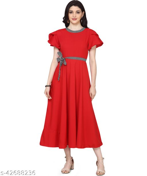 Oomph! Women'S Crepe A-Line Maxi Dress - Fire Engine Red md122