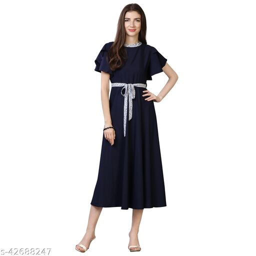 Oomph! Women'S Crepe A-Line Maxi Dress - Navy Blue md63