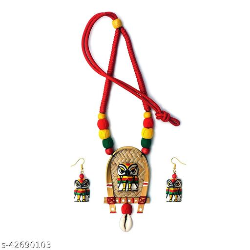 Karukala Handcrafted Wooden Bamboo Owl Necklace Set for Women(Color Multi,Size:Free)
