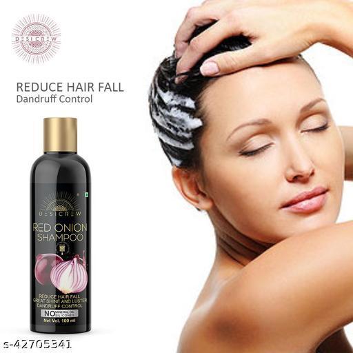 Desi Crew Premium Red Onion Shampoo For Hair Growth Solution Reduce Hair Breakage, Tangles, Split Ends & Dandruff Control 100 ml