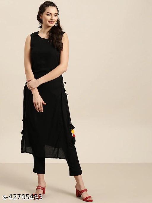 Trendy Fashionable Black Kurti With Pant Set