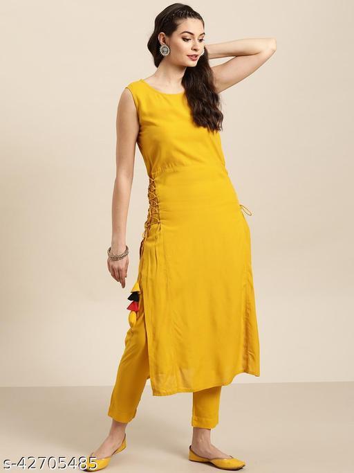 Women Rayon A-line Solid Mustard Kurti And Pant Set