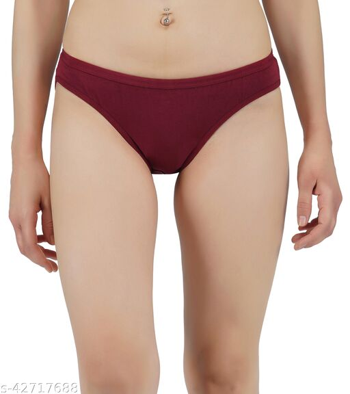 Women Hipster Maroon Cotton Panty