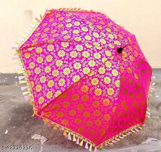 CRAFTSZONE Indian wedding Decorative Sun Umbrellas PRINTED DESIGN ( pink)