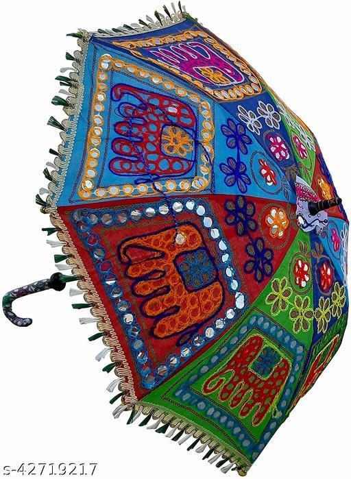 CRAFTSZONE Elephant Embroidery Design Multicolor Sun Protection Rajasthani Handmade Cotton Fabric