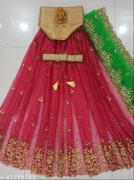 FANCY INDIAN CULTURE WOMEN'S PINK EMBROIDERY ORGANZA CHECKS LEHENGA CHOLI & DUPATTA SET. (UN-STITCHED)