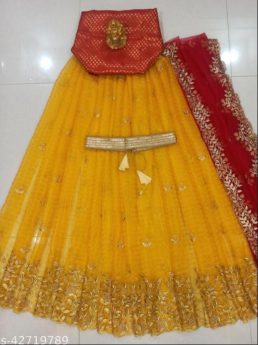 FANCY INDIAN CULTURE WOMEN'S YELLOW EMBROIDERY ORGANZA CHECKS LEHENGA CHOLI & DUPATTA SET. (UN-STITCHED)