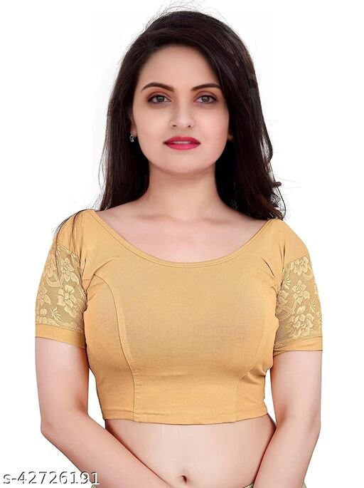 PU Fashion Readymade Stretchable cotton lycra Blouse