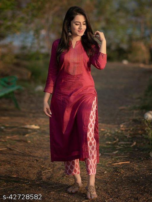 Women Trendy Red Collour Kurta With Bottamwear