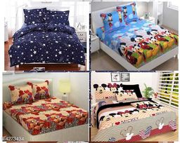 Comfy Attractive Polycotton Double Bedsheets (Pack of 4)