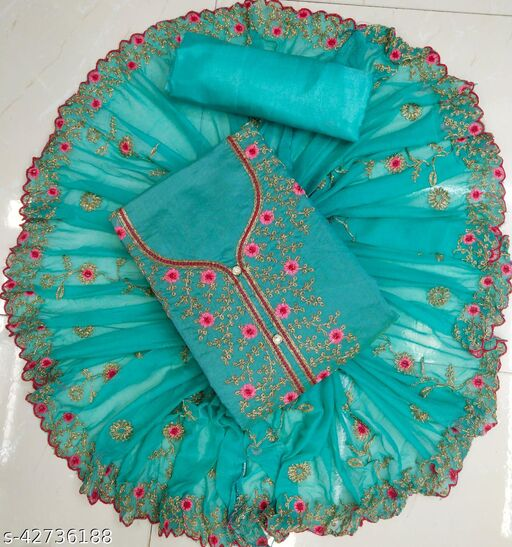 Chanderi Dress Material With Embroidery Coding Work