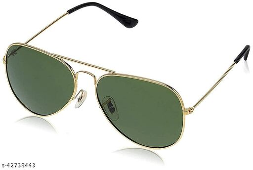 DEVEW™ UV Protected golden frame Aviator Sunglasses for Men Women Perfect for Any Weather (green Lenses)