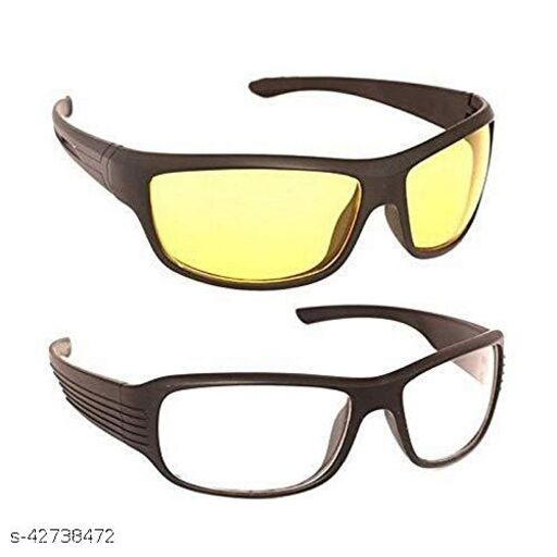DEVEW Unisex Adult Square Sunglasses (Clear & Yellow Lens) (MEDIUM) (Pack of 2)