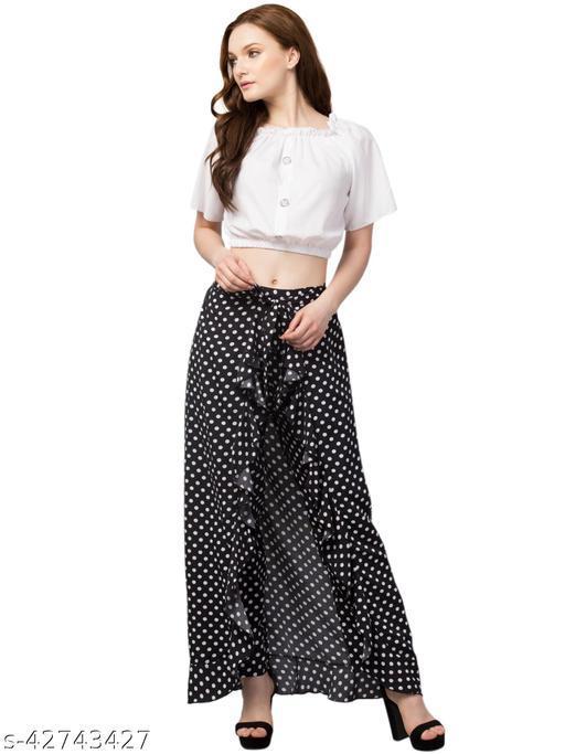 Maya Fashion Women Solid Black Dot Flared Skirt
