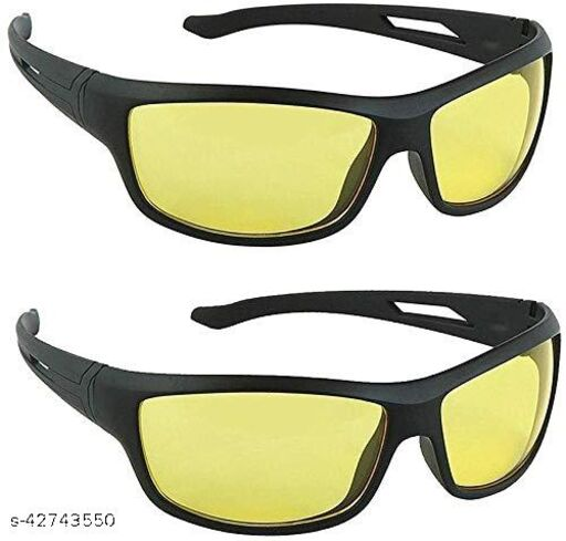 Naygt Day And Night Vision Goggles for Riding Bikes Combo Pack of Driving Sunglasses for Men Women Boys & Girls (Yellow) - 2 Goggle Case Girls&Boys