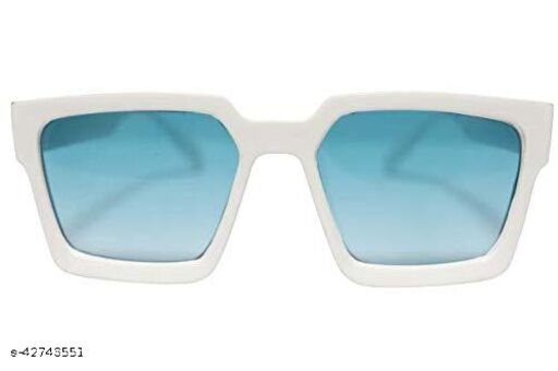 Naygt Unisex Square Sunglass inspired from Jass Manak (Medium Size White Frame, Blue color) Pack of 1