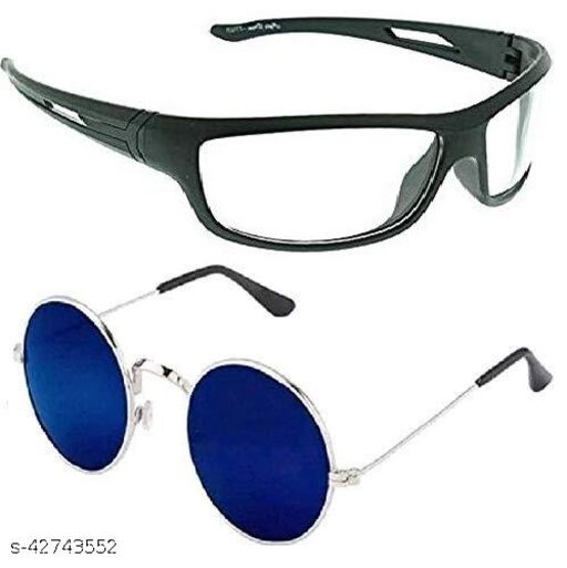 Naygt Round Sunglasses For Men And Women color dark blue and White Lens Black Frame Night Vision Driving Sunglasses for Men and Women combo pack of 2