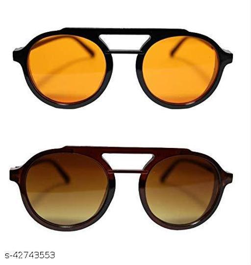 Naygt Stylish round sunglasses girls and boy pack of 2 orange and brown