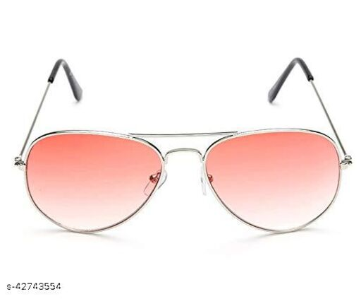 Naygt UV Protected Silver frame Aviator Sunglasses for Men Women Perfect for Any Weather (Red Lenses)