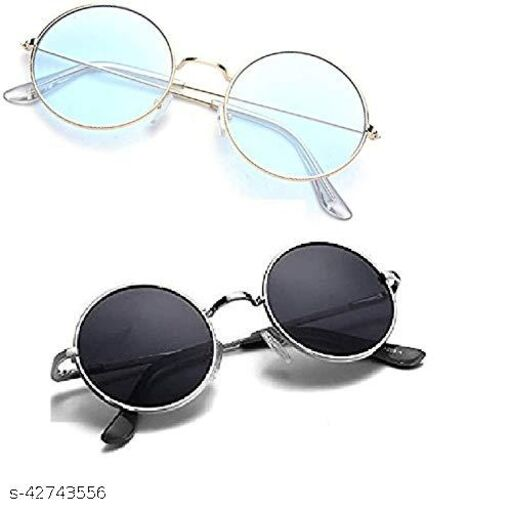 Naygt Men's and Women's Round Sunglasses combo pack - Set of 2 (standard , light blue and black )