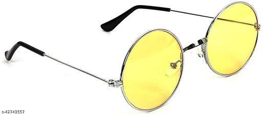 Naygt Round Shape UV Protection Girl's and Boy's Sunglasses (Yellow, Medium)